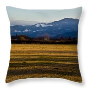 Afternoon Shadows Across A Rogue Valley Farm Throw Pillow