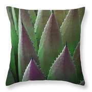 Agave Green Pink Throw Pillow