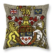 Aged And Cracked Canada Coat Of Arms Throw Pillow