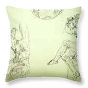 Agony And Atlas Sketch Of Him Throwing The World Onto Her As He Transforms Life Burden To Freedom Throw Pillow