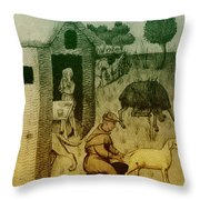 Agriculture, Medieval Farming Throw Pillow