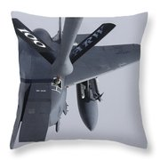 Air Refueling A F-15e Strike Eagle Throw Pillow by Daniel Karlsson