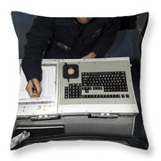 Air Traffic Controller Records Incoming Throw Pillow