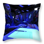 Air Traffic Controller Stands Watch Throw Pillow