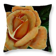 Airbrushed Coral Rose Throw Pillow