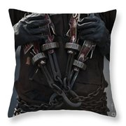 Airman Carries Aircraft Tie-down Chains Throw Pillow