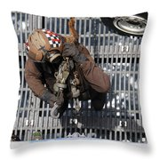 Airman Carries Chains To The Flight Throw Pillow