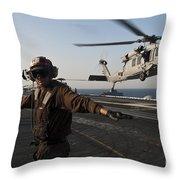 Airman Checks For A Clear Deck As An Throw Pillow