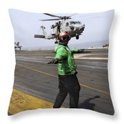 Airman Checks The Takeoff Path Throw Pillow