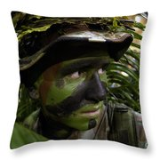 Airman Conceals Himself By Blending Throw Pillow by Stocktrek Images