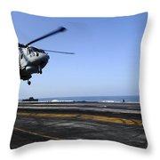 Airman Directs An Eh-101 Merlin Throw Pillow