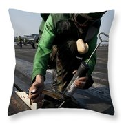 Airman Greases The Catapult Shuttle Throw Pillow
