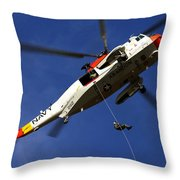 Airman Practices Rappelling Throw Pillow