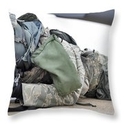 Airman Provides Security At Whiteman Throw Pillow by Stocktrek Images