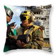 Airman Receives Proper Fire Fighting Throw Pillow