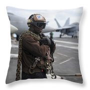 Airman Stands By With Tie-down Chains Throw Pillow