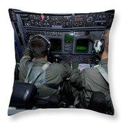 Airmen At Work In A Mc-130h Combat Throw Pillow