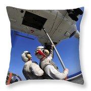 Airmen Attach Pallet Rigs To An Sa-330j Throw Pillow