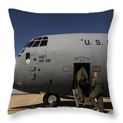 Airmen Board A C-130j Hercules At Dyess Throw Pillow