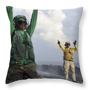 Airmen Communicate To Aircraft Aboard Throw Pillow