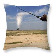 Airmen Conduct A Controlled Detonation Throw Pillow