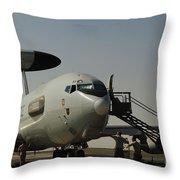 Airmen Prepare A U.s. Air Force E-3 Throw Pillow