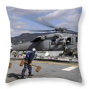 Airmen Prepare To Chock And Chain An Throw Pillow