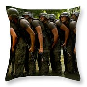 Airmen Stack Up In A Pond Throw Pillow