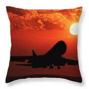 Airplane Landing At Sunset Throw Pillow