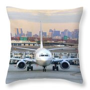 Airport Overlook The Big City Throw Pillow by Mike McGlothlen