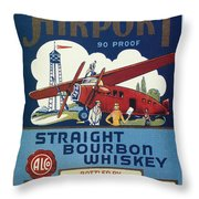 Airport Whiskey Label Throw Pillow