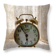 Alarm Clock On Windowsill Throw Pillow