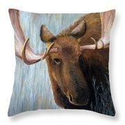 Alaskan Bull Moose Throw Pillow