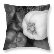 Albino Bullnose Pepper Bw Throw Pillow