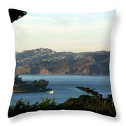Alcatraz Island American Flag Throw Pillow