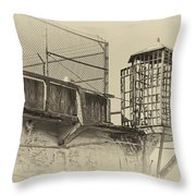 Alcatraz Recreation Yard Guard Cage And Gun Walk Throw Pillow