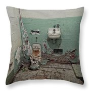 Alcatraz Vandalized Cell Throw Pillow