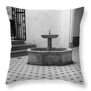 Alcazar Courtyard In Black And White Throw Pillow