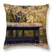 Alcove In The Autumn Park Throw Pillow