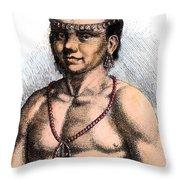 Algonquian Man, 1645 Throw Pillow