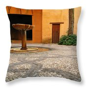 Alhambra Courtyard And Fountain In Spain Throw Pillow