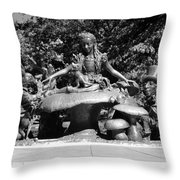 Alice In Wonderland In Central Park In Black And White Throw Pillow