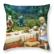 Alice In Wonderland Throw Pillow by Jutta Maria Pusl