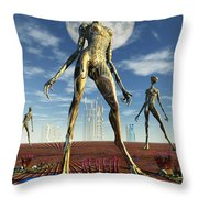 Alien Reptoid Beings Wearing Organic Throw Pillow