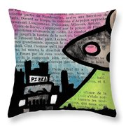 Aliens Love Pizza Throw Pillow