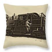 All Aboard Antique Throw Pillow