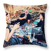 All Saints Day Cemetery Picnic New Orleans Throw Pillow