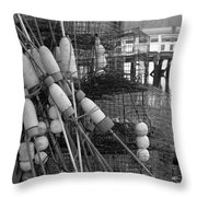 All Stacked Up In Black And White Throw Pillow