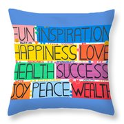 All The Happy Words Throw Pillow