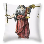 Allegory: Justice, 1726. Line Engraving (detail), German Throw Pillow